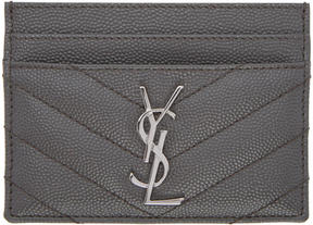 Saint Laurent Grey Quilted Monogram Card Holder - GREY - STYLE