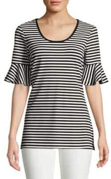 Isaac Mizrahi IMNYC Striped Bell-Sleeve Top