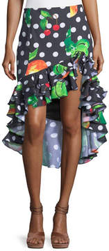Caroline Constas Polka-Dot Fruit-Print Ruffled High-Low Skirt