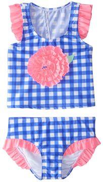 Hula Star Girls' Summer Skies Gingham Tankini Set (2T6X) - 8154244