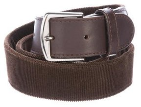 Loro Piana Leather-Trimmed Corduroy Belt