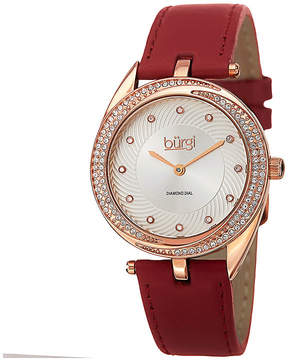 Burgi Womens Diamond Accent Rose-Tone Red Strap Watch
