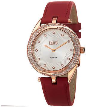 Burgi Womens Diamond Accent Rose-Tone Red Strap Watch