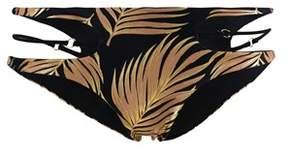 Beach Bunny Multicolor Bresilian Bikini Bottom Bunny Basic Gold Foil Palm.