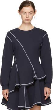 Kenzo Navy Asymmetric Peplum Sweatshirt