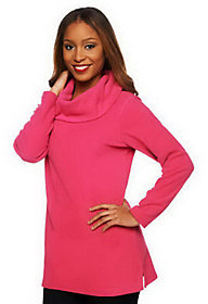 Denim & Co. As Is Long Sleeve Cowl Neck Fleece Tunic