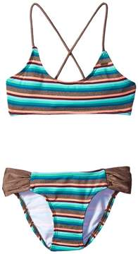 O Sea Stripe Halter Swim Set (Little Kids/Big Kids)