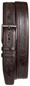 Mezlan Men's 'Parma' Calfskin & Genuine Crocodile Leather Belt