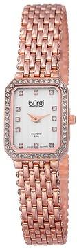 Burgi White Diamond Dial Rose Gold-tone Steel Ladies Watch