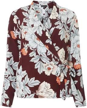 Dorothy Perkins Wine Floral Print Wrap Top