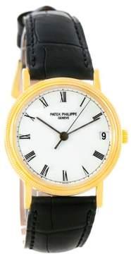 Patek Philippe Calatrava 3802 18K Yellow Gold & Leather Automatic 33mm Mens Watch