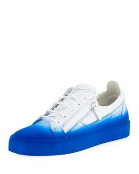 Giuseppe Zanotti Men's Smuggy Fade-In Flocked Low-Top Sneakers, Blue