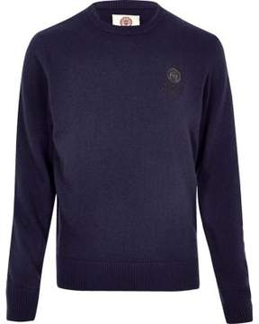 River Island Mens Navy Franklin and Marshall knit sweater