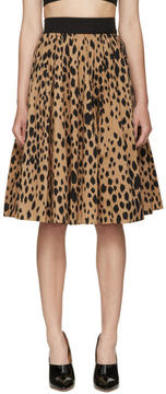 Fausto Puglisi Black Animal Print Pleated Skirt
