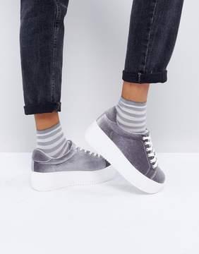 New Look Chunky Velvet Flatform Sneakers