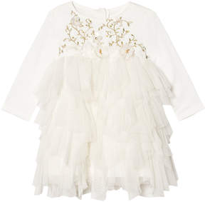 Kate Mack Biscotti Ivory Tulle Embroidered and Jewelled Dress
