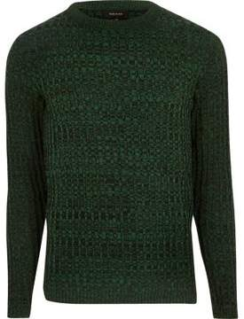 River Island Mens Green ribbed sweater