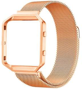 Fitbit Moretek Blaze Bands, Stainless Steel Milanese Magnetic Bracelet Replacement Band with Metal Frame for Blaze Smart Fitness Watch(Gold Large)