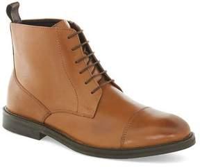 Topman Mens Brown Tan Leather Lace Toecap Boots