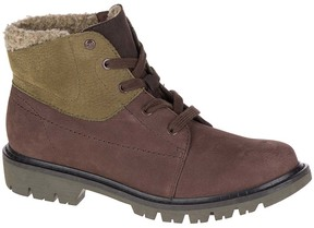 CAT Footwear Coffee Bean & Dark Olive Fret Leather Ankle Boot