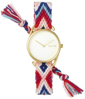 RumbaTime Jane Goldtone White Dial Interchangeable Reds, White and Blue Braided Strap Watch
