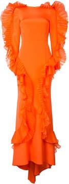 Christian Siriano long ruffle trim dress