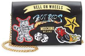 Moschino Women's Patched Leather Chain Wallet