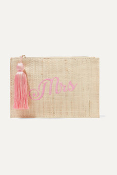 Kayu Mrs Embroidered Woven Straw Pouch - Beige