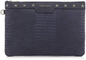 Jimmy Choo DEREK Uniform Blue Croc Printed Nubuck with Star Trim Document Holder