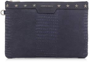 Jimmy Choo DEREK Uniform Blue Croc Printed Nubuck with Star Trim Document Holder