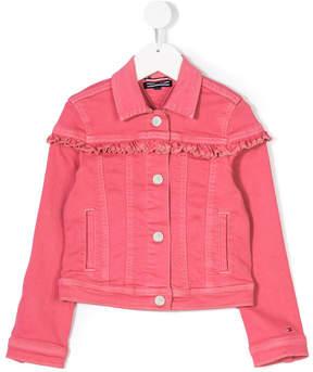 Tommy Hilfiger Junior ruffled detail denim jacket