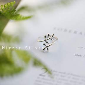 Alpha A A Silver Tone Crossing Leaf Ring - One Size Fits all
