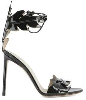 Francesco Russo Women's Black Patent Leather Sandals.