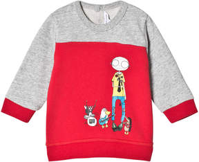 Little Marc Jacobs Red and Grey Marl Mr Marc and Friends Sweatshirt
