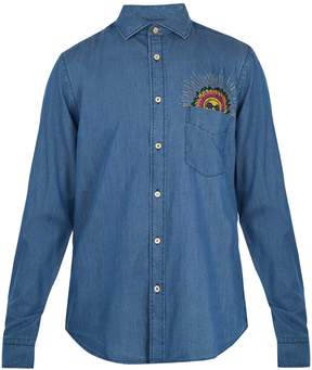 Paul Smith Sun-embroidered cotton-blend chambray shirt