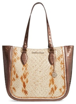 Brahmin Honey Carlisle - Medium Lena Leather Tote - Brown