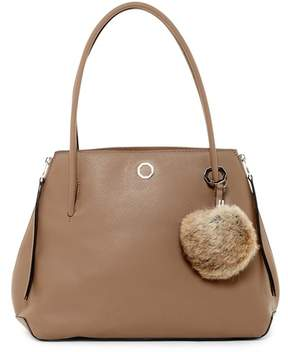 Louise et Cie Elin Leather Tote with Genuine Rabbit Fur Pompom