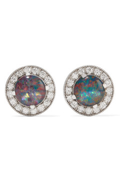 Andrea Fohrman 18-karat White Gold, Opal And Diamond Earrings