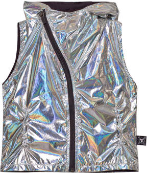 Nununu Silver Nylon Asymmetrical Vest