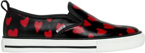 RED Valentino 20mm Heart Print Smooth Leather Sneakers