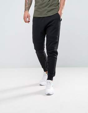 Pull&Bear Panel Joggers With Zip Hem In Black