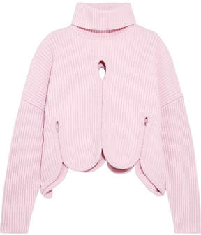 Antonio Berardi Scalloped Cutout Wool-blend Turtleneck Sweater - Pink