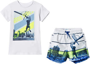Mayoral White Graphic Tee and City Graphic Swim Shorts Set