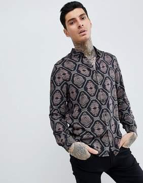 Asos DESIGN regular fit viscose baroque print shirt