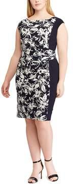 Chaps Plus Size Floral Colorblock Sheath Dress