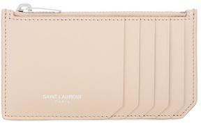 Saint Laurent Classic Paris leather card holder - BEIGE - STYLE