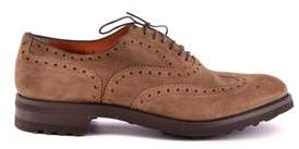 Santoni Men's Brown Suede Lace-up Shoes.