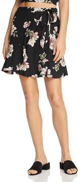 Band of Gypsies Flounced Floral-Print Mini Skirt