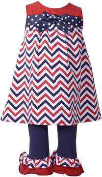 Bonnie Jean Baby Girl Chevron Tunic & Ruffle Leggings Set