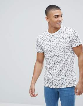 Solid T-Shirt With Bird Print